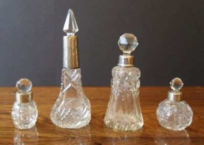 Cut glass perfume bottles